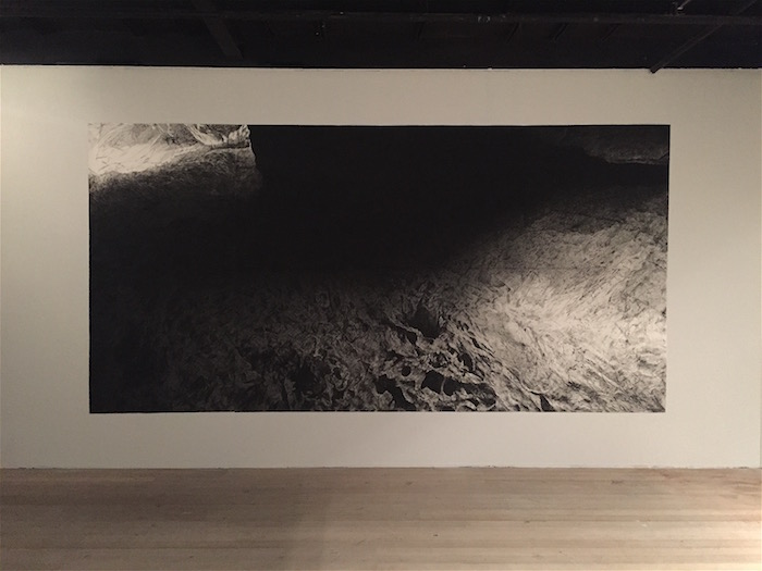 the abyss, charcoal on 8 sheets of paper, 250 x 500 cm, 2018